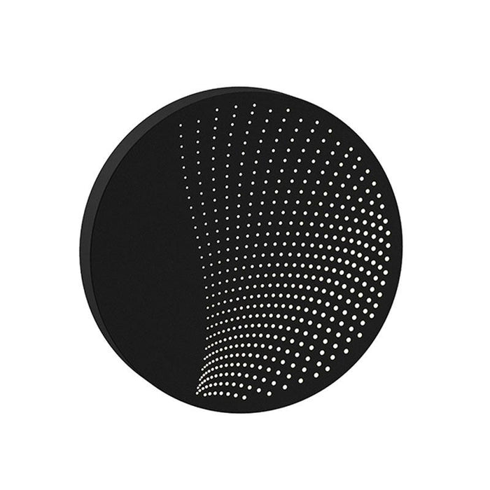 Dotwave Medium Round LED Outdoor Wall Sconce - Textured Black Finish