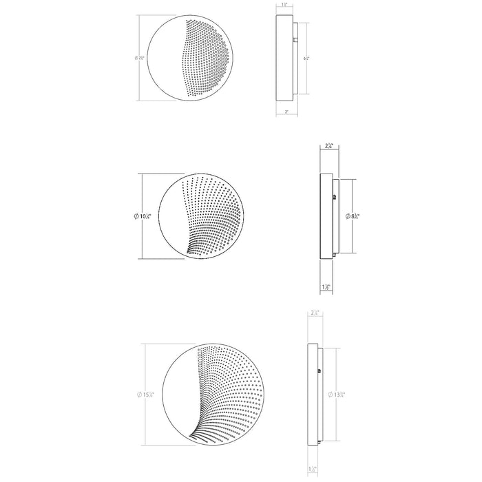 Dotwave Round LED Outdoor Wall Sconce - Diagram