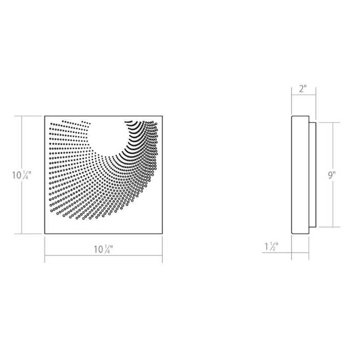 Dotwave Square LED Outdoor Wall Sconce - Diagram