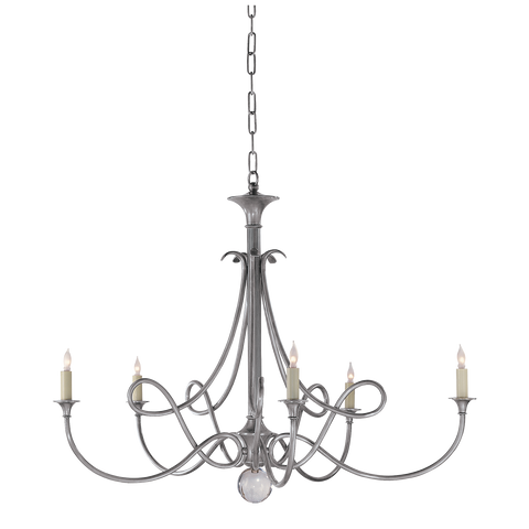 Double Twist Large Chandelier Antique Silver