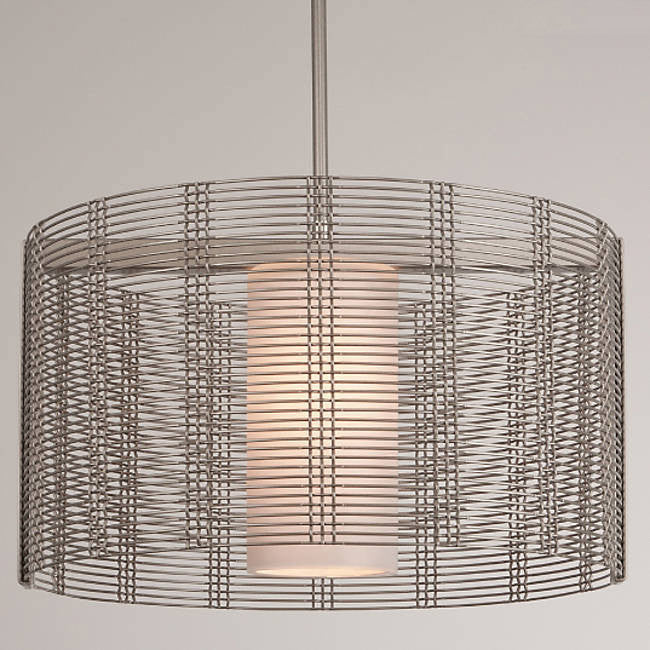 Downtown Mesh Drum Pendant - Metallic Beige Silver/Frosted Glass
