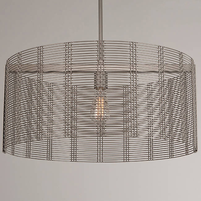 Downtown Mesh Drum Pendant - Metallic Beige Silver