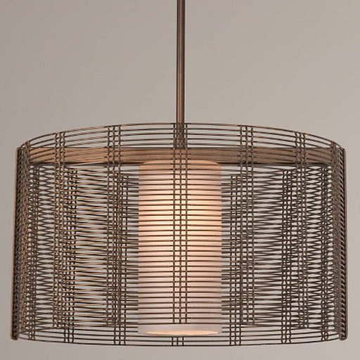 Downtown Mesh Drum Pendant - Flat Bronze/Frosted Glass