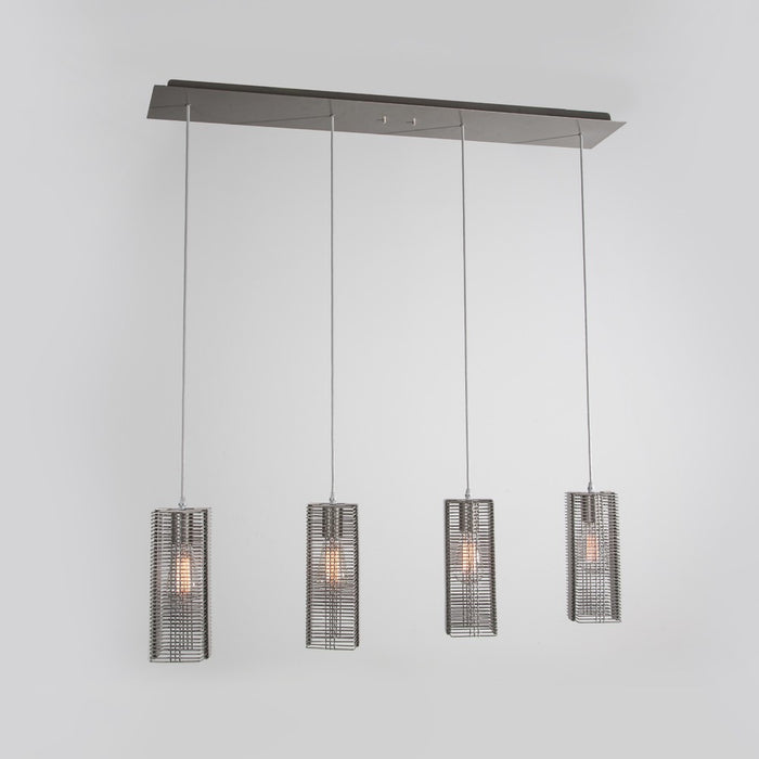 Downtown Mesh Linear Suspension Light - Metallic Beige Silver