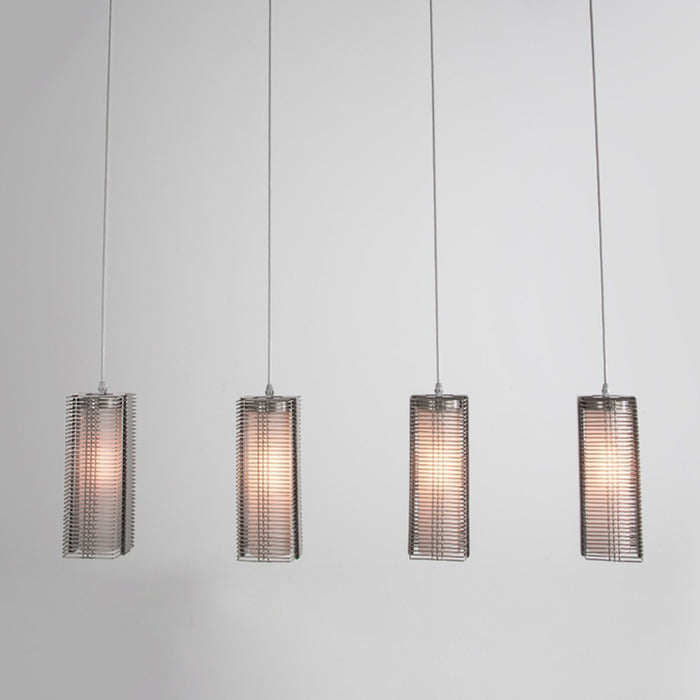 Downtown Mesh Linear Suspension Light - Metallic Beige Silver/Frosted Glass