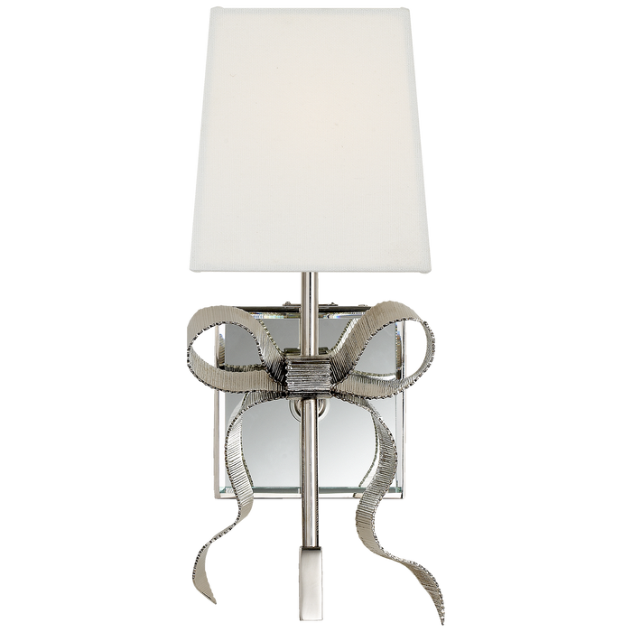 Ellery Small Gros-Grain Bow Sconce - Polished Nickel