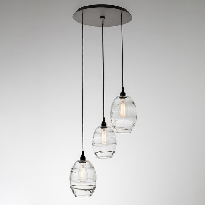 Ellisse 3-Light Multipoint Pendant - Matte Black/Optic Clear