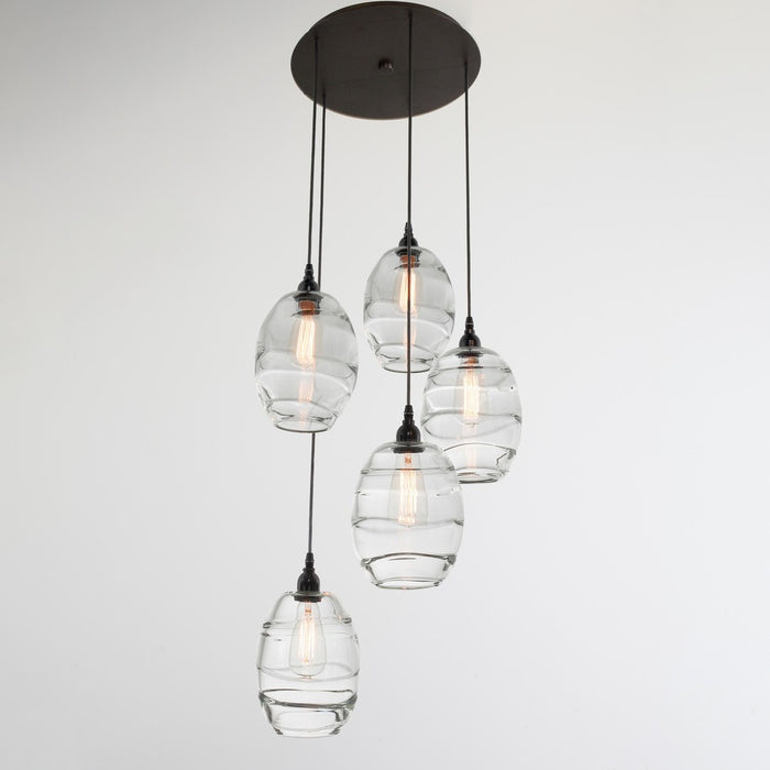 Ellisse 5-Light Multipoint Pendant - Matte Black/Optic Clear