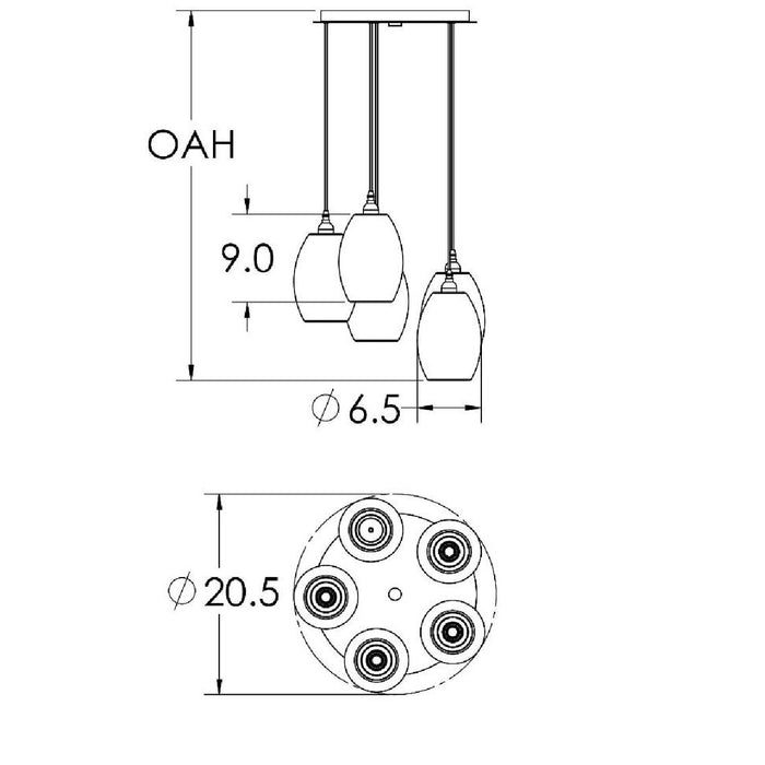Ellisse 5-Light Multipoint Pendant - Diagram