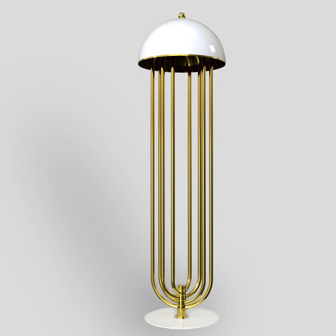 Floor Lamp - White and Gold Finish
