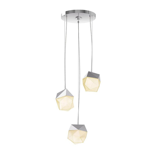 Facets 3-Light Round LED Pendant - Polished Chrome (Small)