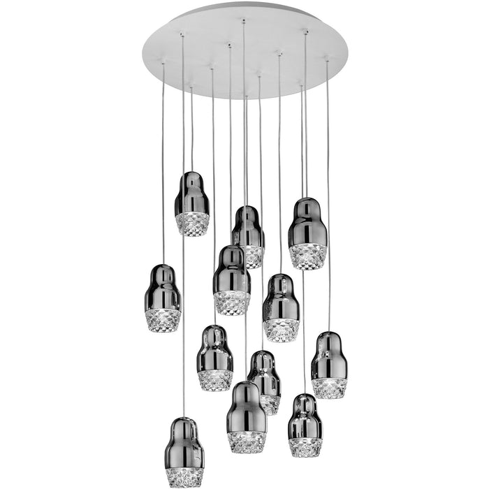 Fedora LED 12-Light Pendant - Chrome Finish