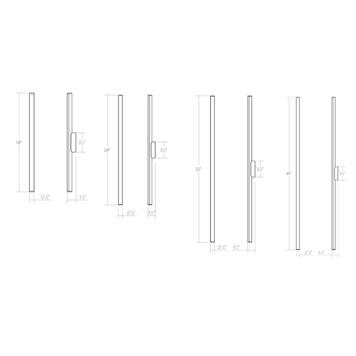 Fino LED Bath Bar - Diagram