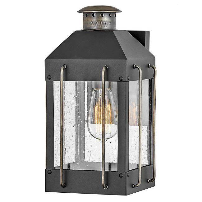 Fitzgerald Small Outdoor Wall Sconce - Textured Black with Burnished Bronze accents