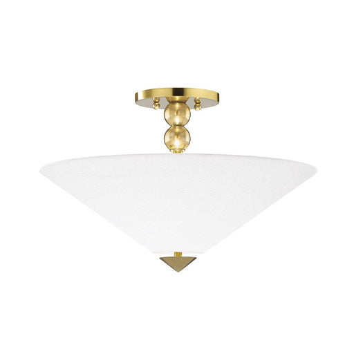 Flare Flush Mount - Aged Brass/White