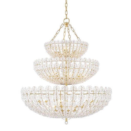 Floral Park Three Tier Chandelier - Aged Brass