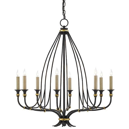 Folgate 8-Light Chandelier - Black/ Gold Leaf
