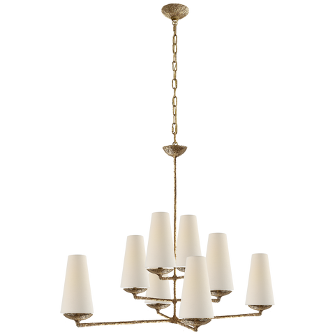 Fontaine Large Offset Chandelier Glided Plaster