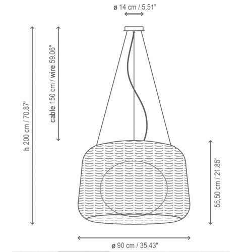 Fora Outdoor Pendant Light - Diagram