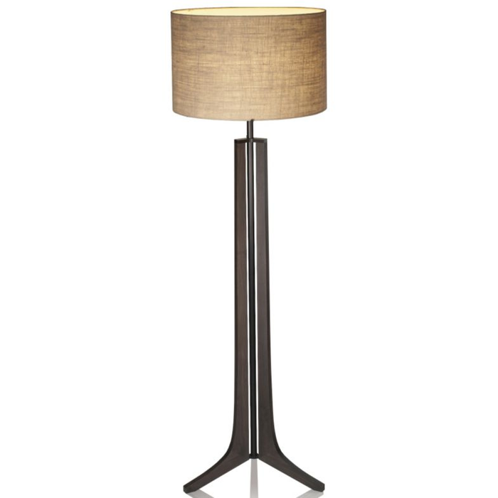 Forma LED Floor Lamp - Dark Stained Walnut / Burlap Shade / Black Anodized Finish