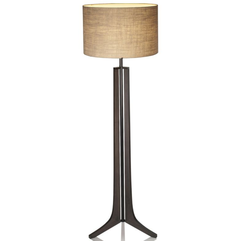 Forma LED Floor Lamp Burlap shade/Black Anodized/Aluminum finish