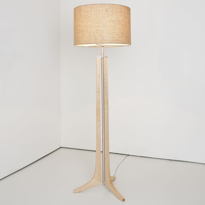 Forma LED Floor Lamp - Forma LED Floor Lamp - Maple / Burlap Shade / Brushed Aluminum Finish