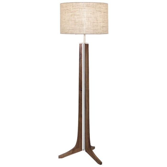 Forma LED Floor Lamp - Oiled Walnut / Burlap Shade / Brushed Aluminum Finish