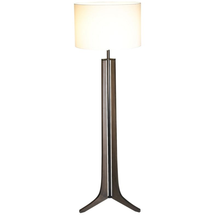 Forma LED Floor Lamp - Dark Stained Walnut / White Linen Shade / Black Anodized Finish
