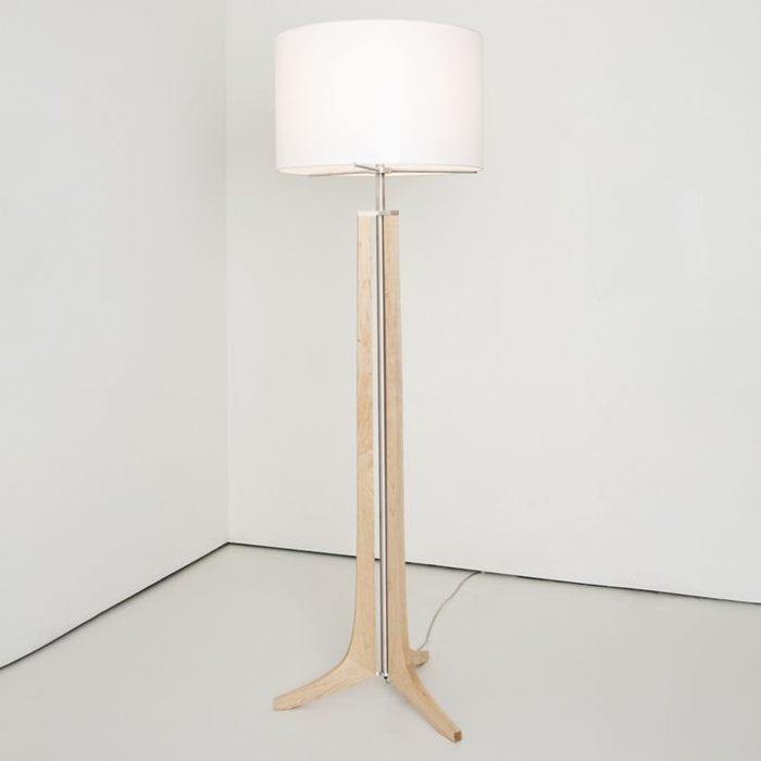 Forma LED Floor Lamp - Forma LED Floor Lamp - Maple / White Linen Shade / Brushed Nickel Finish