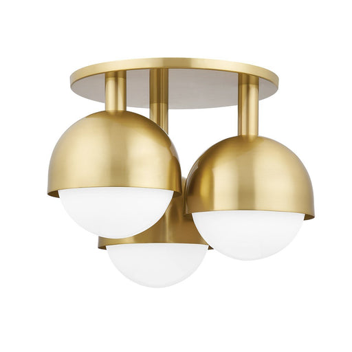 Foster Semi Flush Mount - Aged Brass Finish