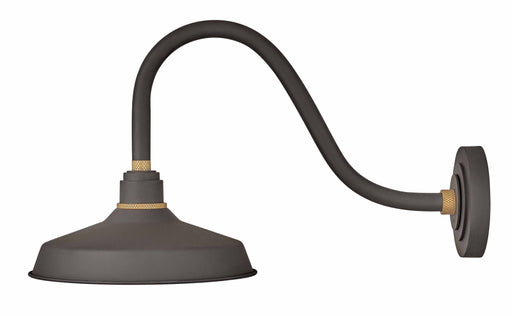 "Foundry 12"" Shade Curve Arm Outdoor Wall Light - Museum Bronze/18"" Arm"