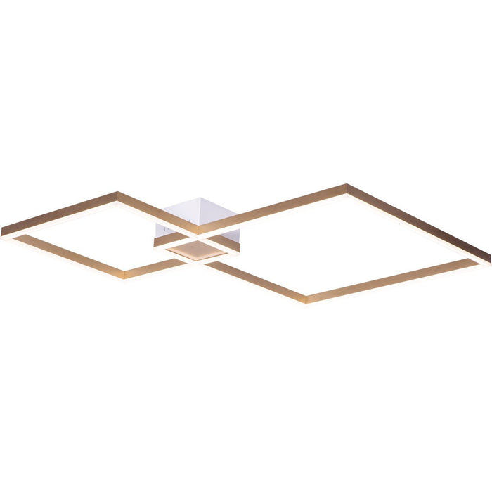 Fractal Asymmetrical Large Semi Flush Mount - Brushed Champagne Finish