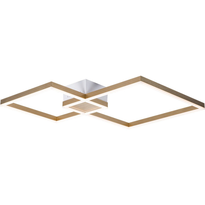 Fractal Asymmetrical Small Semi Flush Mount - Brushed Champagne Finish