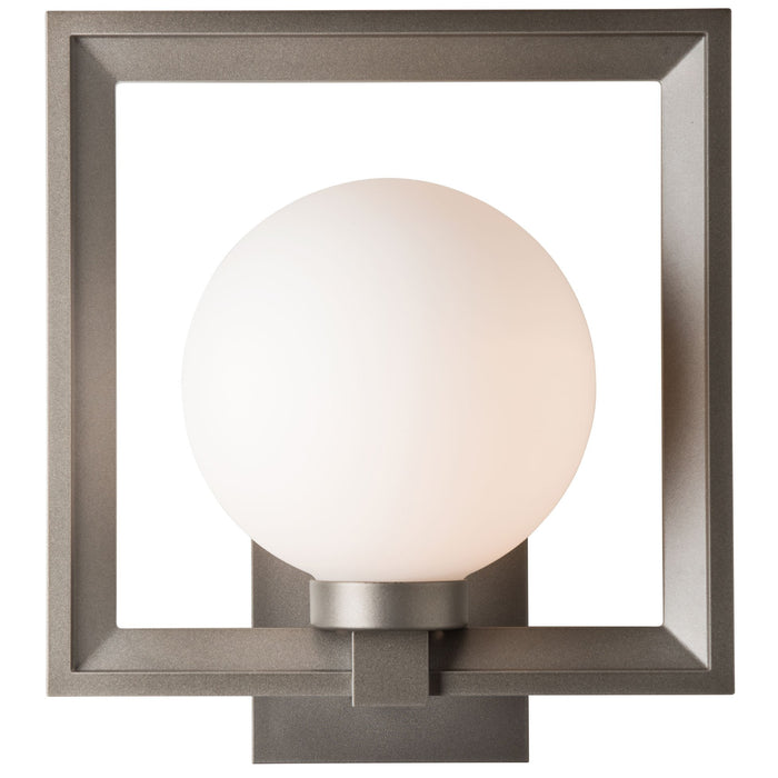 Frame Large Outdoor Wall Sconce - Coastal Dark Smoke Finish with Opal Glass Shade