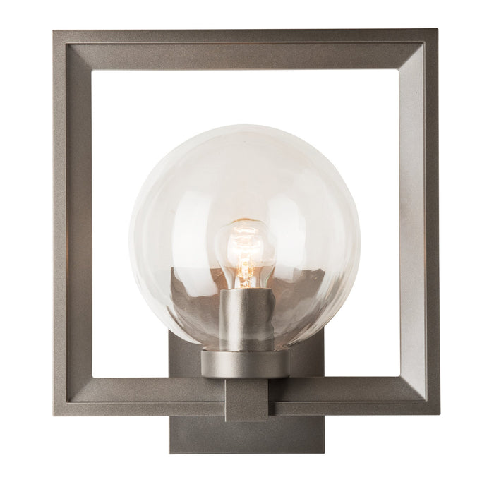 Frame Large Outdoor Wall Sconce - Coastal Dark Smoke Finish with Water Glass Shade