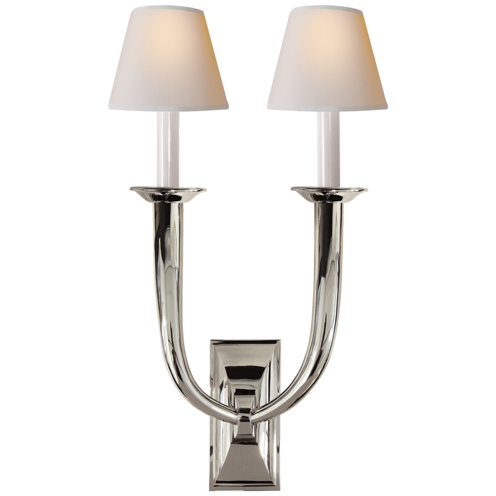 French Deco Horn Double Sconce - Polished Nickel Finish with Natural Paper Shades