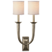 French Deco Horn Double Sconce - Antique Nickel Finish with Linen Shades