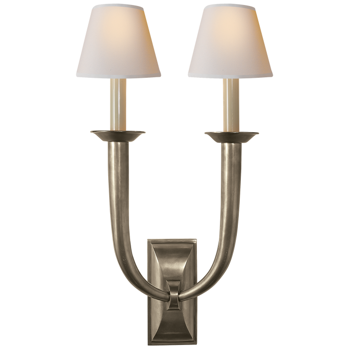 French Deco Horn Double Sconce - Antique Nickel Finish with Natural Paper Shades