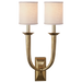 French Deco Horn Double Sconce - Hand-Rubbed Antique Brass Finish with Linen Shades