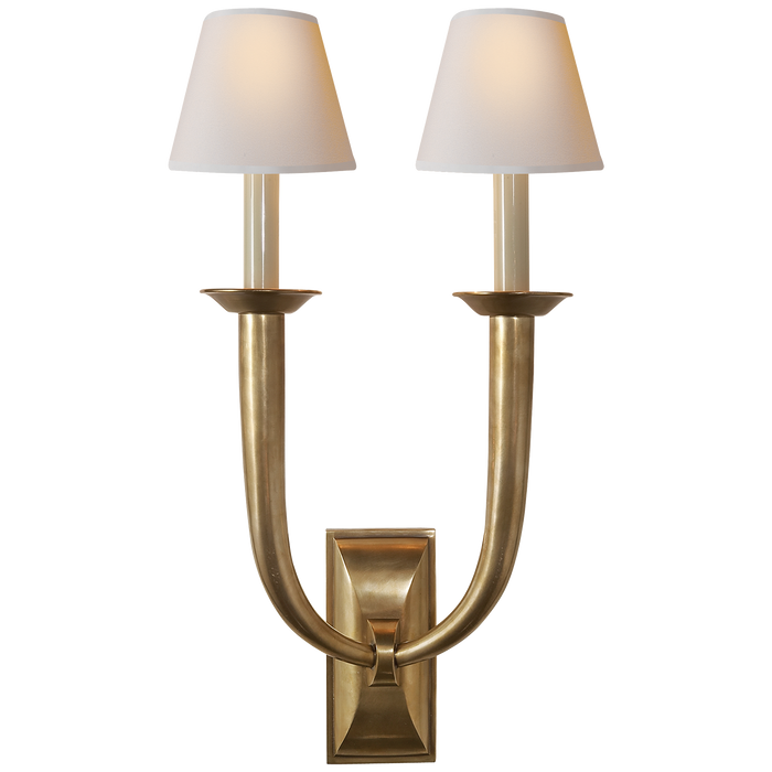 French Deco Horn Double Sconce - Hand-Rubbed Antique Brass Finish with Natural Paper Shades