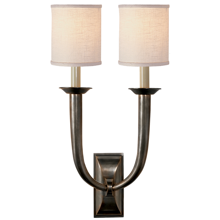French Deco Horn Double Sconce - Bronze Finish with Linen Shades