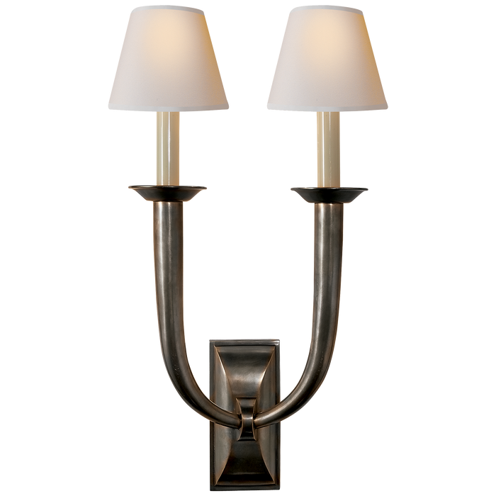 French Deco Horn Double Sconce - Bronze Finish with Natural Paper Shades
