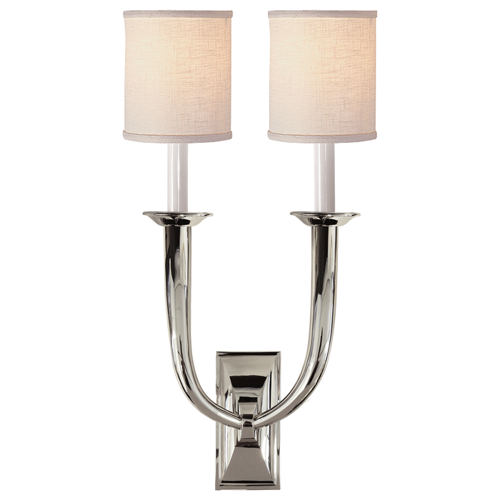 French Deco Horn Double Sconce - Polished Nickel Finish with Linen Shades