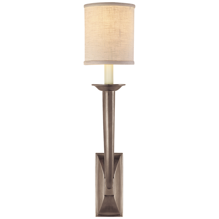 French Deco Horn Sconce - Antique Nickel Finish
