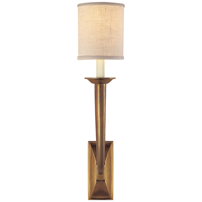 French Deco Horn Sconce - Hand-Rubbed Antique Brass Finish