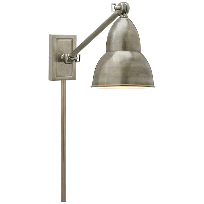 French Library Single Arm Wall Lamp - Antique Nickel Finish