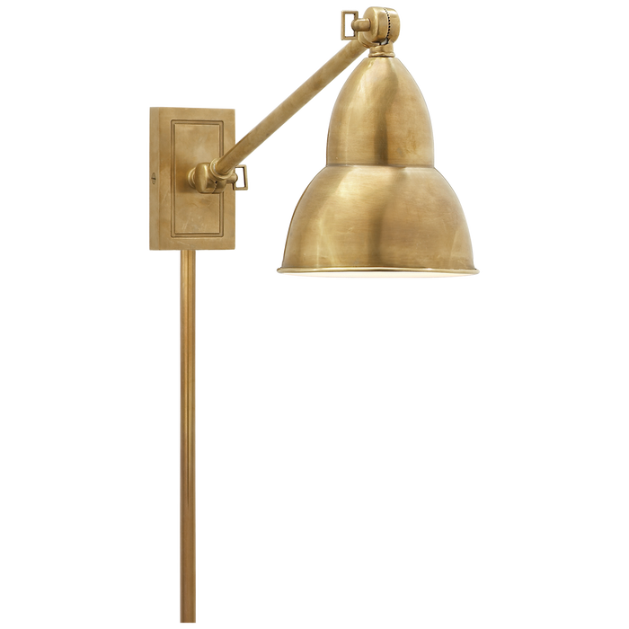 French Library Single Arm Wall Lamp - Hand-Rubbed Antique Brass Finish