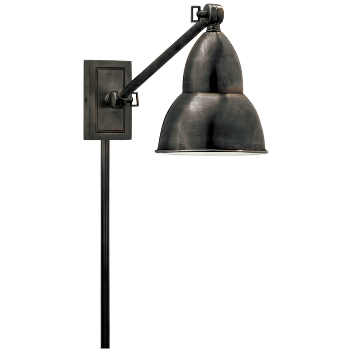 French Library Single Arm Wall Lamp - Bronze Finish
