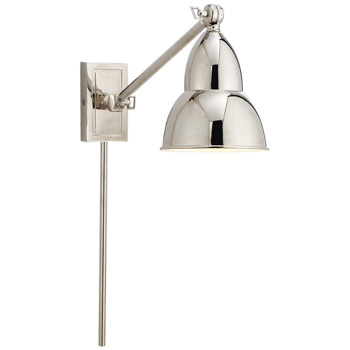 French Library Single Arm Wall Lamp - Polished Nickel Finish