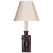 French Single Library Sconce - Bronze Finish with Tissue Shades